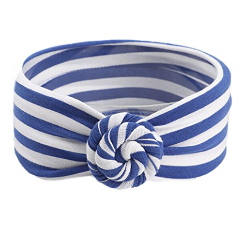Highpot Beautiful Knot Headband Baby Stripe Headbands Girl Elastic Headdress (Blue)
