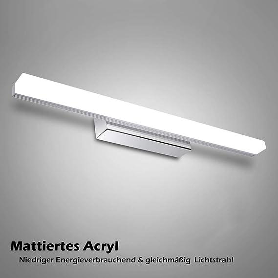 12W LED Spiegelleuchte Badleuchte - 50cm 6000K Weißlicht Edelstahl ...