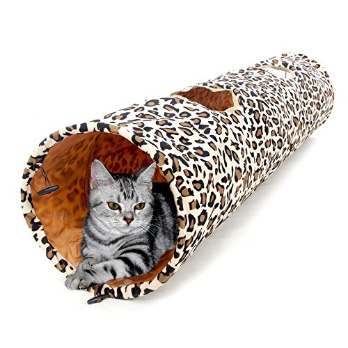 Plastic Speedy Box (Pet Cat Tunnel Leopard Print Crinkly Cat Fun 2 Holes Long Tunnel Kitten Toys Pet Playing Living Necessary (Size:Length:49.6 inch, Diameter: 9.8 inch))