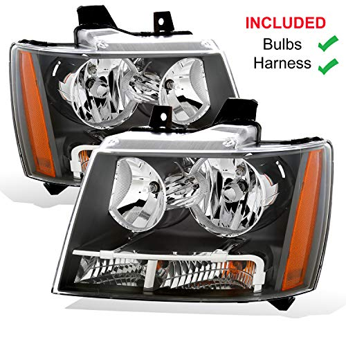 AmeriLite Black Replacement Headlights for Chevy Tahoe/Suburban/Avalanche (Pair) Driver and Passenger Side