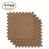 BOEISEN Cork Mat Grain Interlocking Foam Floor Mat Exercise Mat 19.7 x 19.7 x 0.4inch, Pack of 4, Perfect for Pilates, Yoga, Fitness and Kids Playrooms