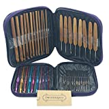 Mixed Aluminum Handle Crochet Hooks Kit Bamboo Knitting Knit Needles Weave Yarn 2 Set 42 PCS With Case