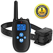 T-mars Remote Controlled Dog Training Collar, 330 Yards Rechargeable and Waterproof IP67 Dog Shock Collar with Beep, Vibration and Shock Electronic Collar-All Size Dogs(7-26Inches)