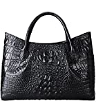 PIJUSHI Women Handbags Crocodile Top Handle Bag Designer Satchel Bags For Women (22198 black)