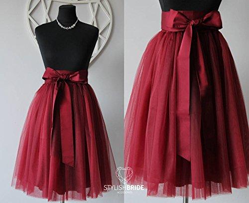 c638f69553 Amazon.com: Wine Tulle Skirt Silk Sash Bow, Dark Red Tulle Skirt, Women  Tulle Skirt, Princess Skirt, Wedding Tulle Skirt, Bridesmaids skirt:  Handmade