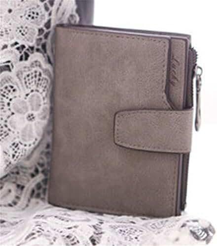 PU Leather Bifold Wallet,Hemlock Women Grind Magic Card Wallet Purse (Grey)