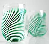 Green Ferns Stemless Wine Glasses – Set of 2 Hand Painted Fern Glasses for the Newlyweds