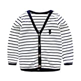 UWESPRING Baby Boys Striped Cardigan Top V-Neck Knit Sweater Coats 6-7T White