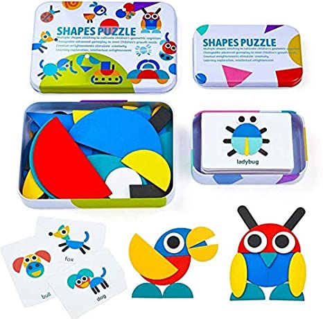 HDYZ Tangram de Madera, Tangram Shape Puzzle Set Montessori Shapes Puzzle de Madera Tangram Puzzle de Madera Montessori Juguete De Rompecabezas Madera para Niños 3 4 5 Años