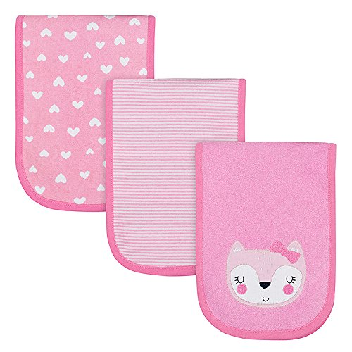 GERBER Baby Girls  3-Pack Terry Burp Cloth, Fox, 18