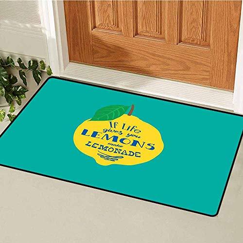 GloriaJohnson Motivational Universal Door mat Brush Script Calligraphy and Lemon Optimistic Approach to Life Door mat Floor Decoration W15.7 x L23.6 Inch Turquoise Yellow Navy Blue