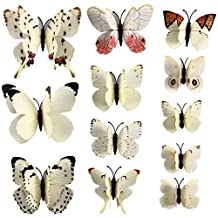 12 pcs Butterfly Wall Stickers 3d Butterfly Wall PVC 3D Magnet Butterfly Wall Stickers Butterflies Decors Wedding Party Home Kitchen Fridge Decoration Magnets Stickers (2ColorWhite) by Generic