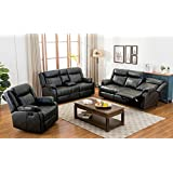 Roundhill Furniture 3 Piece Novia Leather-Air Living Room Set, Double Recling Sofa and Loveseat and Recliner Chair, Black