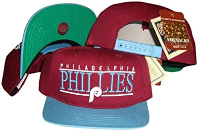 American Needle Philadelphia Phillies Maroon/Baby Blue Two Tone Snapback Adjustable Plastic Snap Back Hat/Cap