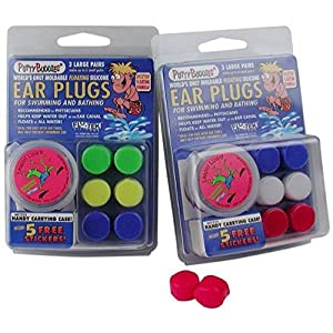 2 PACK!!! 6 Pair Putty Buddies WaterBlock Swimming Ear Plugs Qty.2 3packs Included Red, White, Blue Color Ear Plugs