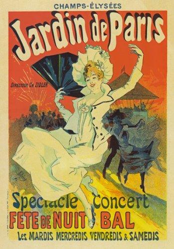AP06 Vintage Jardin De Paris Jules Cheret Champs Elysees French Concert Advertisement Poster Re-Print - A4 (297 x 210mm) 11.7