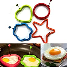 Xyindia£¨TM)4pc/lot Stars Heart Round Flower Shape Non-stick Silicone Fried Egg Mold Omelette Mold Pancake Rings Cooking Egg Tools Mould