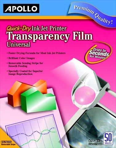 Quick Dry Inkjet Printer Transparency - Apollo 067385 Quick Dry Transparency Film For Ink Jet Printers44; Pack 50