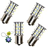 HQRP 4-Pack BA15s Bayonet Base 30 LEDs SMD 3528 LED Bulb Warm White for #1141 #1156 Jayco RV Interior / Porch Lights Replacement plus HQRP UV Meter