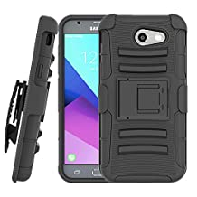 Samsung Galaxy J3 Emerge/ J3 Prime/Express Prime 2/Luna Pro/J3 Eclipse/J3 Luna Pro/Sol 2/Amp Prime 2 Case, TOODAY [Belt Clip][Kickstand]Shockproof Dual-Layer Armor Drop Protection Case (Black)