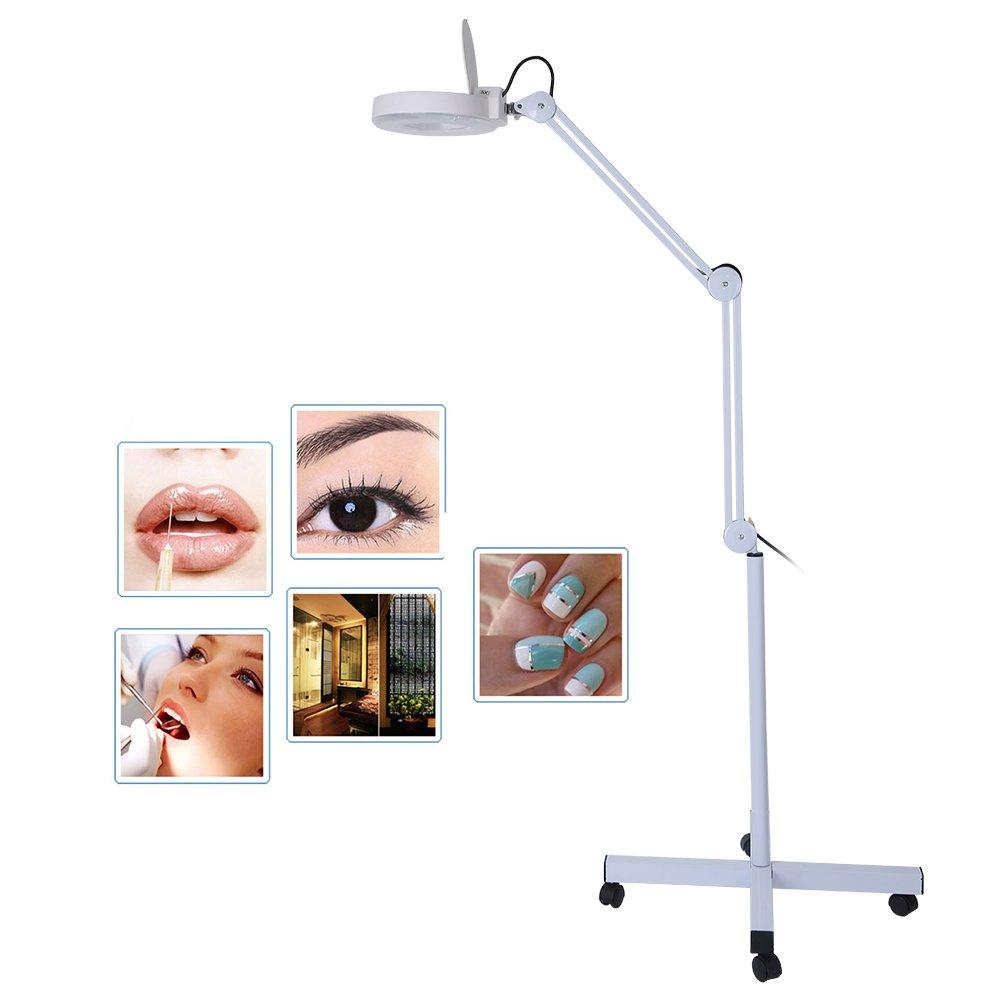 Lampada da terra a lente ingrandimento a 8 Diottrie LED ingrandente con supporto flessibile regolabile a luce fredda con lettura a luce per Estetista Brrnoo