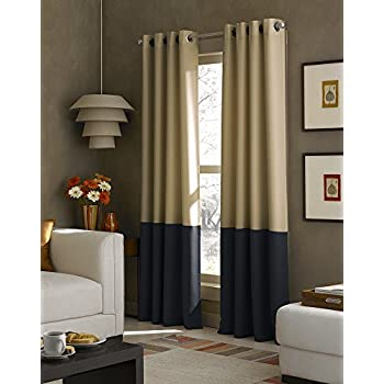 Curtainworks Kendall Color Block Grommet Curtain Panel, 63 Inch, Khaki
