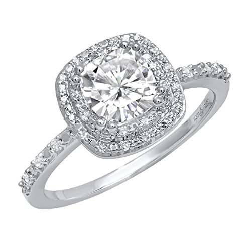 10K White Gold 6 MM Cushion Lab Created White Sapphire & Round Diamond Engagement Ring (Size 4.5) (Ring Lab Sapphire Created)