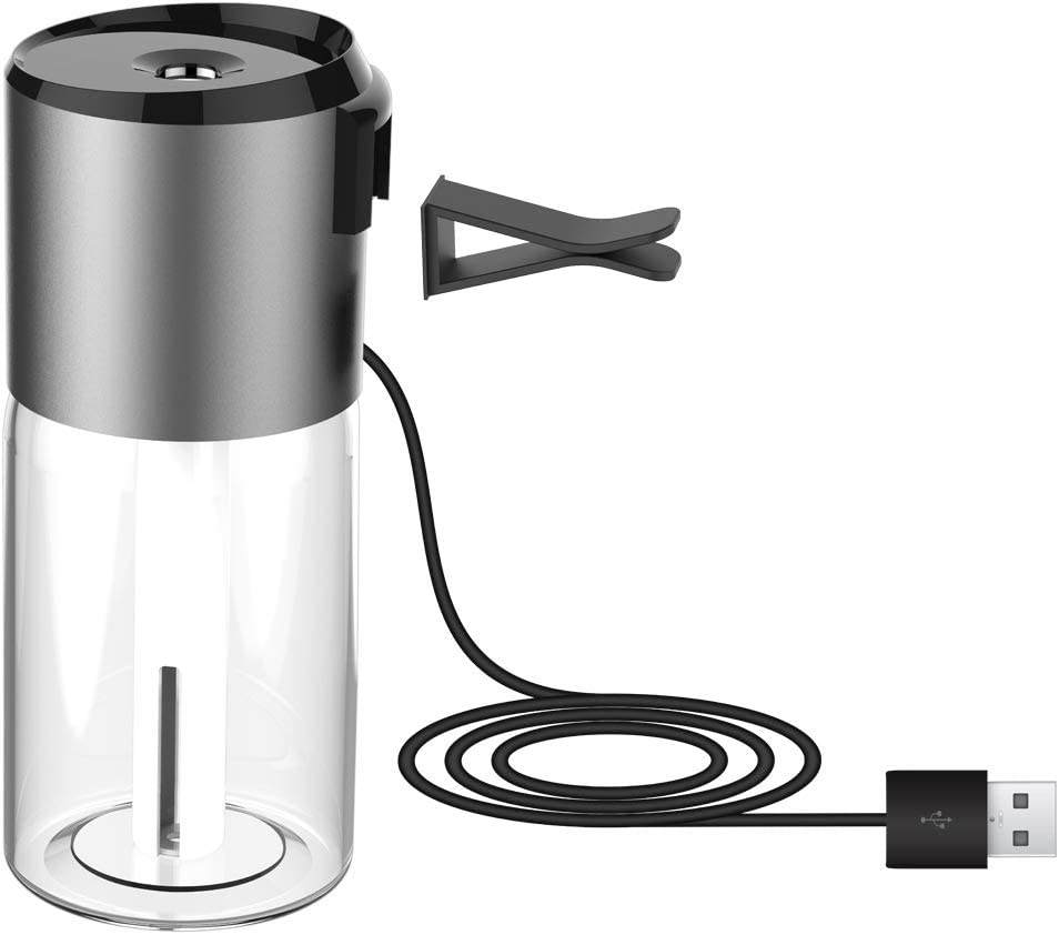 KEZIO Humidificador de Aire para Auto, purificador de Aire de Viaje, difusor de Aceite Esencial con Cargador Dual USB de 100 ml, Mini Filtro Desmontable y purificador ...