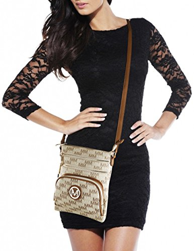 Pocketbook Adjustable Light MKF Stachel Beige Bags 1 Signature 2 in Brown Women Collection Design Crossbody wristlets Clutch strap for zT1YTq7