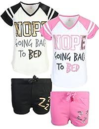 dELiAs Girl's Varsity Summer Pajama Sleepwear Short Set (2 Pack)