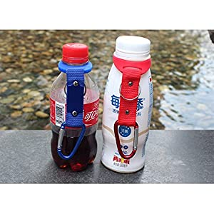 5 Pack Silicone Water Bottle Holder Hook W/ Key Ring - Hanging Buckle Mineral Water Bottle Clip Drink Holder Buckle for Outdoor Camping Hiking Traveling (Red)