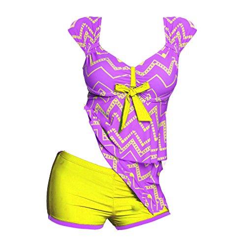 Size Porpora Plus Costumi Pantaloncini Donna S 5XL Due Bagno Donna Girocollo stampa Da Elegante Junkai Tankini Adorabile Intero Costume Pezzi wHxFqYF