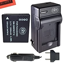 DMW-BCF10 Battery And Battery Charger for Panasonic Lumix DMC-TS2 DMC-TS3 DMC-TS4 DMC-F2 DMC-F3 DMC-FH1 DMC-FH3 DMC-FH20 DMC-FH22 DMC-FS6 DMC-FS12 DMC-FS15 DMC-FS25 DMC-FS42 DMC-FS62 DMC-FT1 DMC-FP8 DMC-FX700 Digital Camera + More!!