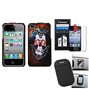eForCity Film + Mat + Lightning Skull Phone Case Cover compatible with Apple iPhone 4S/4