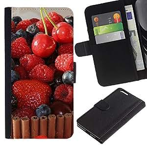 JackGot ( Frutta Macro Torta Lampone Cherry ) Apple (5.5 inches!!!) iPhone 6+ Plus / 6S+ Plus la tarjeta de Crédito Slots PU Funda de cuero Monedero caso cubierta de piel