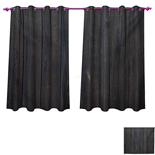 Dark Grey Waterproof Window Curtain Wood Fence Texture Image Rough Rustic Weathered Surface Timber Oak Planks Decorative Curtains Living Room W63 x L63 Dark Grey Blue