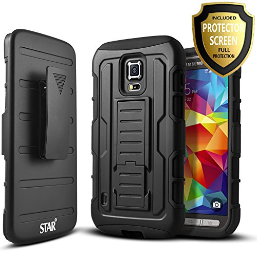 Galaxy S5 Active Case, Samsung Galaxy S5 Active Case, Starshop [Heavy Duty] Dual Layers with Kickstand and Locking Belt Clip With Premium Screen Protector Black