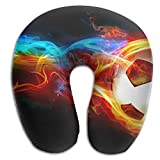 Neck Pillow With Resilient Material Soccer With Color Fire U Type Travel Pillow Super Soft Cervical Pillow