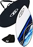 Skimboard Package - Blue - 43'' Fiberglass Wave Zone Rip plus Board Bag and/or Traction Pad - For Riders up to 145 lbs (Board + Traction + Bag)
