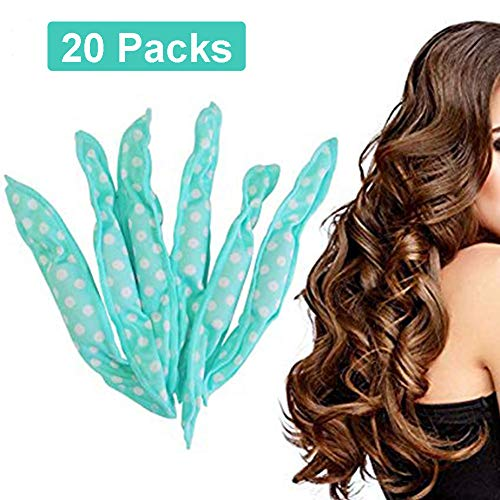 Aochol 20pcs Pillow Hair Roller Night Sleep Foam Hair Curler Rollers for Women & Girls, No Heat DIY Hair Styling Roller Tools, Green (Night Rollers)