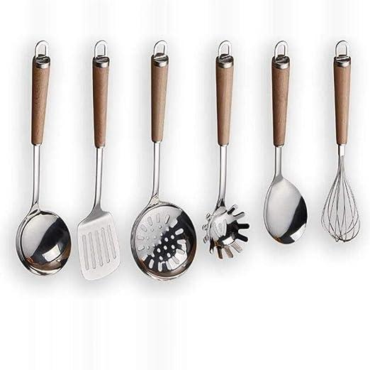 Utensilios de cocina de acero inoxidable con mango de madera ...