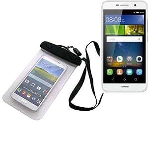 Universal Bolsa de playa / impermeable para lluvia / cubierta de nieve de 16 cm x 10 cm, por ejemplo, para Huawei Y6Pro LTE. Cubierta protectora transparente contra el polvo, la arena, la lluvia y aguas poco profundas para su teléfono celular, Smartphone, GPS, GPS, monederos, dinero en efectivo, objetos de valor. Sensible al tacto material. Su Huawei Y6Pro LTE se mantiene plenamente operativo, mientras que en el caso. Dimensiones: 16 cm x 10 cm   protecion Beachbag caso protector proteger la