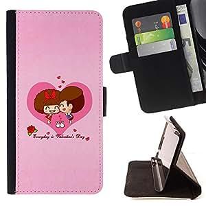 For Sony Xperia Z3 D6603,S-type Corazón del amor Pares lindos- Dibujo PU billetera de cuero Funda Case Caso de la piel de la bolsa protectora