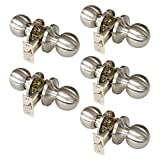 Gobrico 5sets Passage Keyless Door Lock Brushed Satin Interior Door Knobs Handles Locksets