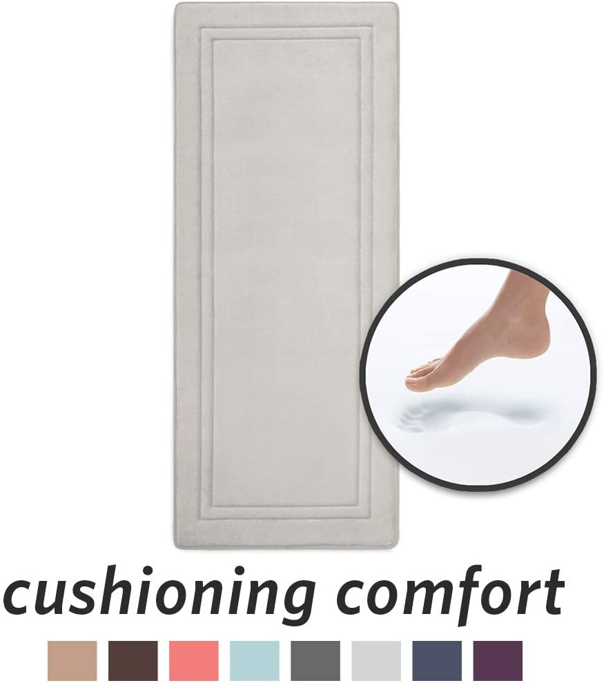 """MICRODRY Quick Drying Memory Foam Framed Bath Mat Runner with GripTex Skid Resistant Base 