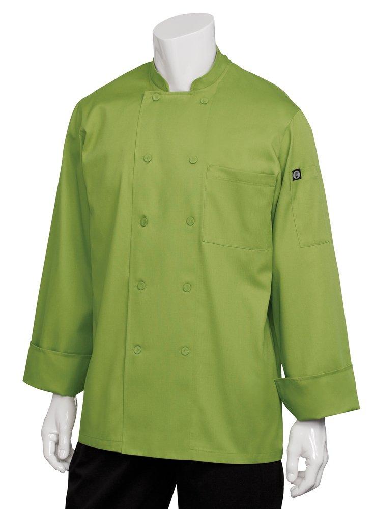 Chef Works Men's Genova Chef Coat, Lime Green, Large