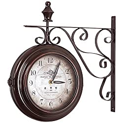 Yosemite Home Decor Double Sided Iron Wall Clock, Multi