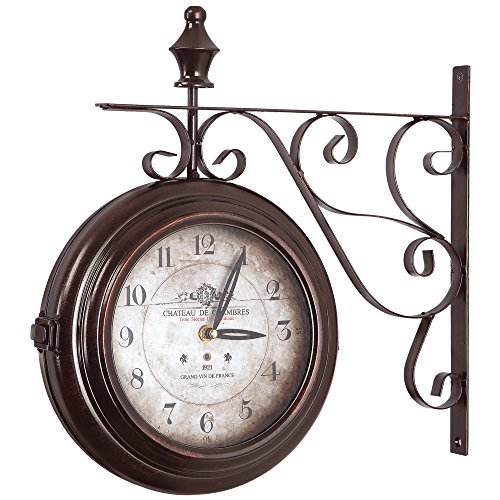 Yosemite Home Decor CLKA1B359 Double Sided Iron Wall Clock Multi
