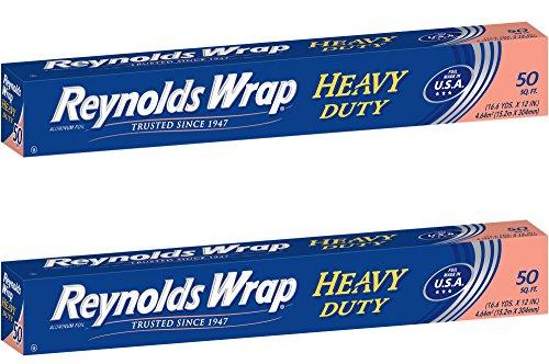 - Reynolds Wrap Heavy Duty Aluminum Foil, 50 Square Feet ~ 2 Pack