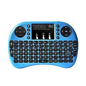 (Novedad 2015, con Luz de fondo) Rii mini i8+ Mini teclado ergonómico con ratón tipo touchpad incorporado. Compatible con SmartTV, Mini PC, Android, PS3, PS4, Xbox, HTPC, PC, Raspberry Pi, Kodi, XBMC, IPTV, MacOS, Linux y Windows XP/7/8/10 de Rii(blue)